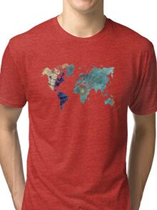 World map wind rose Tri-blend T-Shirt