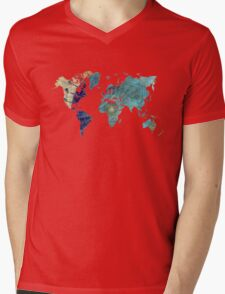 World map wind rose Mens V-Neck T-Shirt
