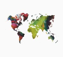 Map of the world green red One Piece - Short Sleeve