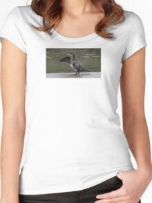 Cormorant drying in the sun. Women's Fitted Scoop T-Shirt
