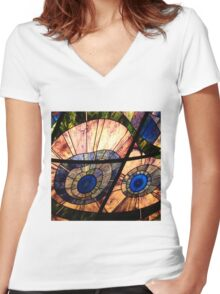 Look Into My Glass Eyes Women's Fitted V-Neck T-Shirt