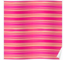 Coral and Pink Brush Stroke Painted Stripes Poster