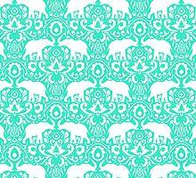 Elephant Damask Mint by Jacqueline Maldonado