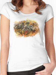 Rome aerial art Women's Fitted Scoop T-Shirt