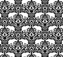 Elephant Damask Black and White by Jacqueline Maldonado