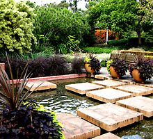 Square stepping stones at Roma Street parklands, Brisbane,Qld.Australia by Marilyn Baldey