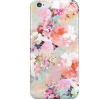 Romantic Pink Teal Watercolor Chic Floral Pattern iPhone Case/Skin