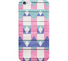 Pink Turquoise Geometric Pattern Gray Wood  iPhone Case/Skin