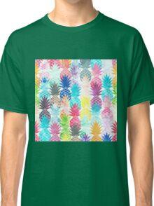Hawaiian Pineapple Pattern Tropical Watercolor Classic T-Shirt