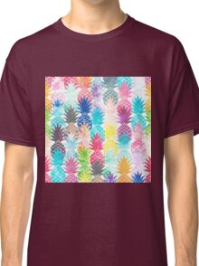 Hawaiian Pineapple Pattern Tropical Watercolor Classic T-Shirt