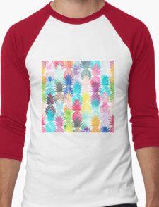 Hawaiian Pineapple Pattern Tropical Watercolor Men's Baseball ¾ T-Shirt