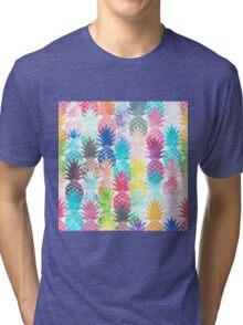 Hawaiian Pineapple Pattern Tropical Watercolor Tri-blend T-Shirt