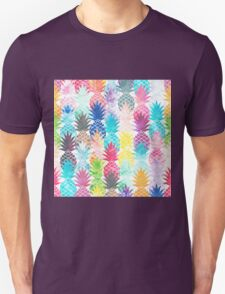 Hawaiian Pineapple Pattern Tropical Watercolor Unisex T-Shirt