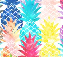 Hawaiian Pineapple Pattern Tropical Watercolor Sticker