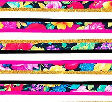 Neon floral pattern pink gold glitter stripes by GirlyTrend