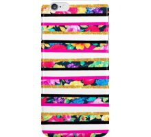 Neon floral pattern pink gold glitter stripes iPhone Case/Skin