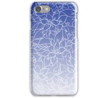 Modern blue ombre chic handdrawn flowers pattern  iPhone Case/Skin