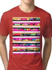 Neon floral pattern pink gold glitter stripes Tri-blend T-Shirt