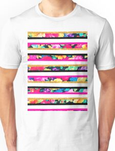 Neon floral pattern pink gold glitter stripes Unisex T-Shirt