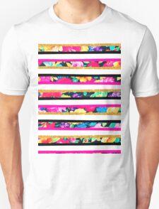 Neon floral pattern pink gold glitter stripes T-Shirt