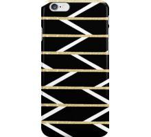 Modern faux gold glitter black chevron pattern iPhone Case/Skin