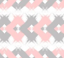 Geometric modern pink coral gray brushstrokes by GirlyTrend