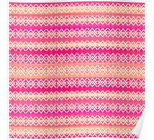Coral and Pink Modern Geometric Tribal Pattern Poster