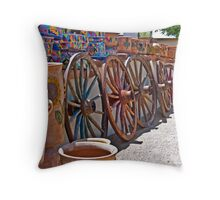 Pots and Wagon Wheels Throw Pillow
