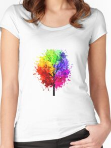 Rainbow Tree With Colour Splats Women's Fitted Scoop T-Shirt