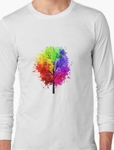 Rainbow Tree With Colour Splats Long Sleeve T-Shirt