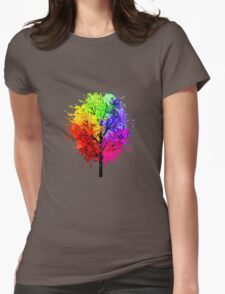 Rainbow Tree With Colour Splats Womens Fitted T-Shirt