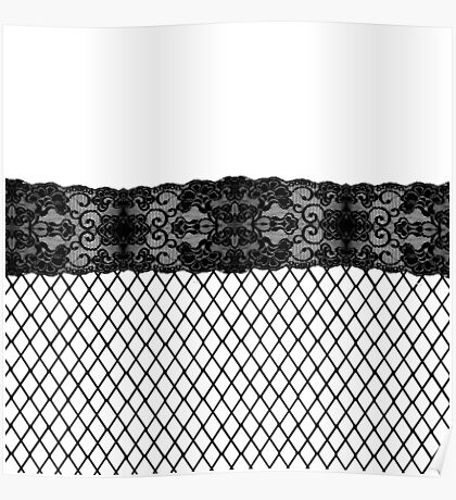 Elegant Pretty Thigh Stocking Fishnet Lace Poster