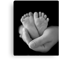 Ten Tiny Toes in the palm of a Mother's hand Canvas Print