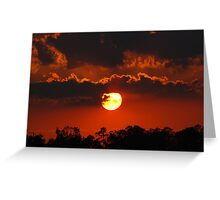 A Nearly Full Sun Sunset Greeting Card