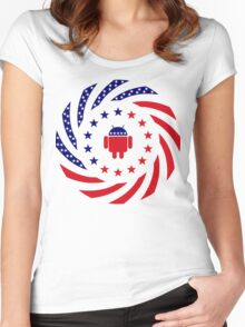 Android Murican Patriot Flag Series Women's Fitted Scoop T-Shirt