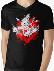 Ghostbusters Logo Paint Splatter Mens V-Neck T-Shirt