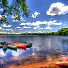 Canoes At Mid-Day by Jack DiMaio