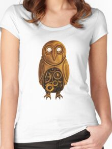 wooden owl clock Women's Fitted Scoop T-Shirt