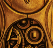 wooden owl clock Sticker