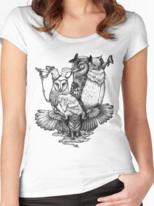 Goatowls (b&w) Women's Fitted Scoop T-Shirt