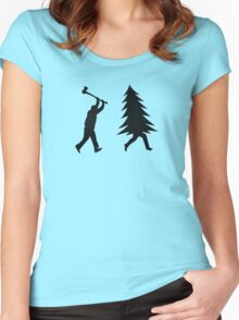 Funny Christmas tree is chased by Lumberjack / Run Forrest, Run! Women's Fitted Scoop T-Shirt