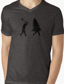 Funny Christmas tree is chased by Lumberjack / Run Forrest, Run! Mens V-Neck T-Shirt