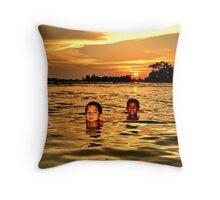 Mekong sunset Throw Pillow