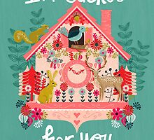 I'm Cuckoo For You - Vintage Cuckoo Clock Illustration for Valentines Day by Andrea Lauren