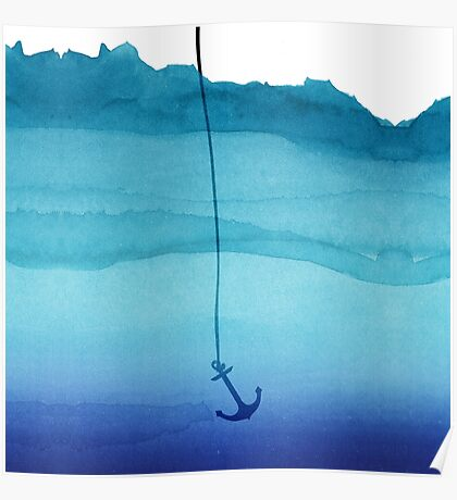 Cute Sinking Anchor in Sea Blue Watercolor Poster