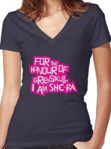 For the Honour of Greyskull Women's Fitted V-Neck T-Shirt