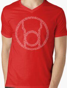 Red Lantern Oath (White) Mens V-Neck T-Shirt