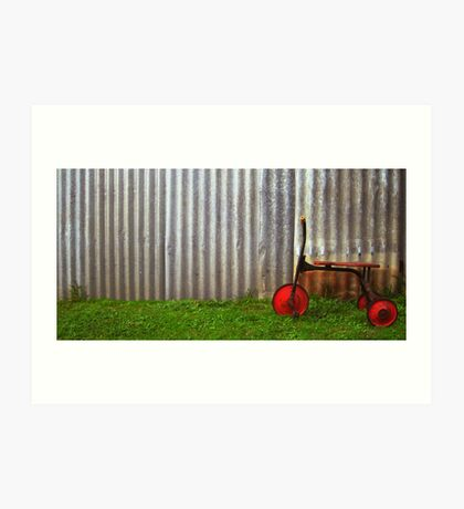 Red trike reminiscing of simpler times... Art Print
