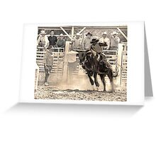 A Rodeo Cowboy Rides his Bull Greeting Card