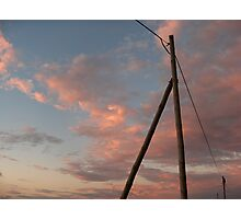 Electrical Power vs Golden Sky Photographic Print